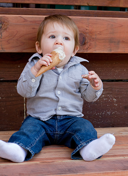 Oakland Family Photography - baby eating ice cream