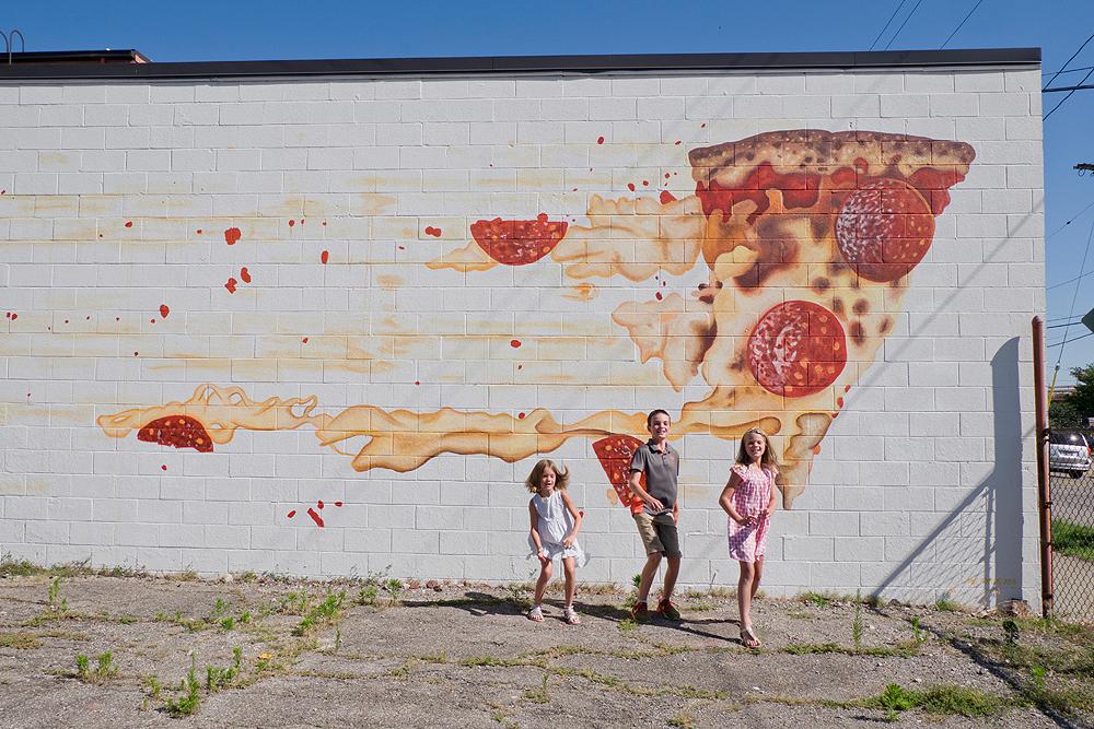 wall mural family portrait - siblings - hingetown cleveland photo shoot