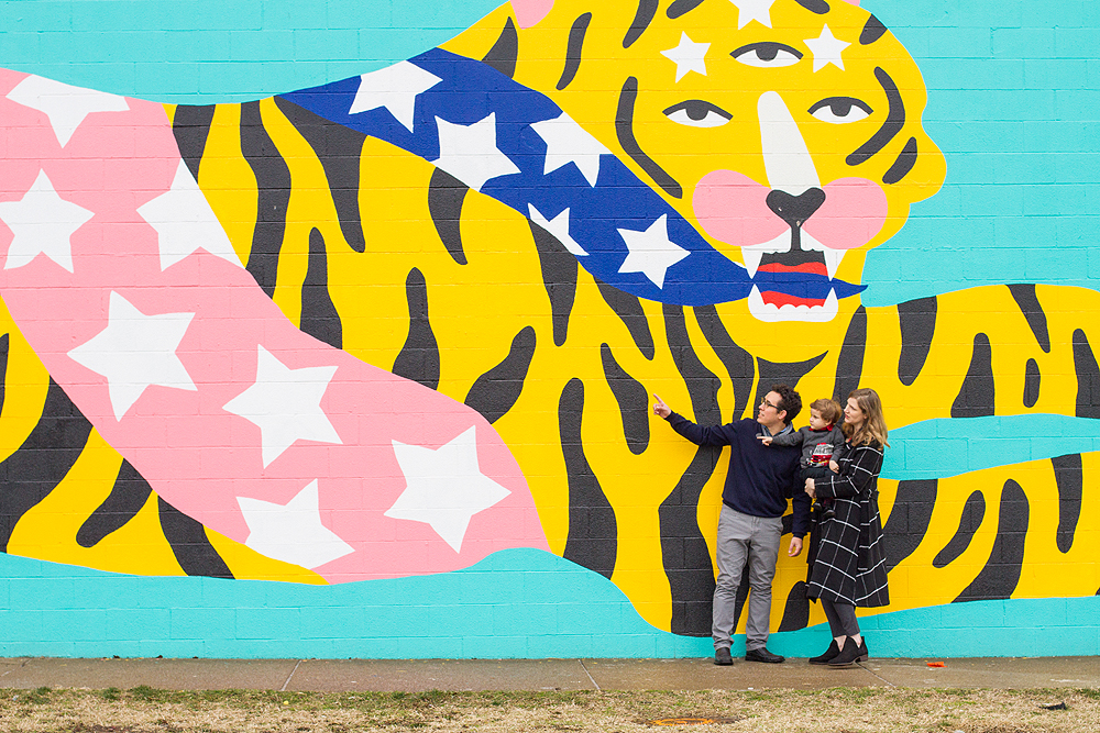 wall mural family portrait - ohio city wall murals - baby photographer in cleveland