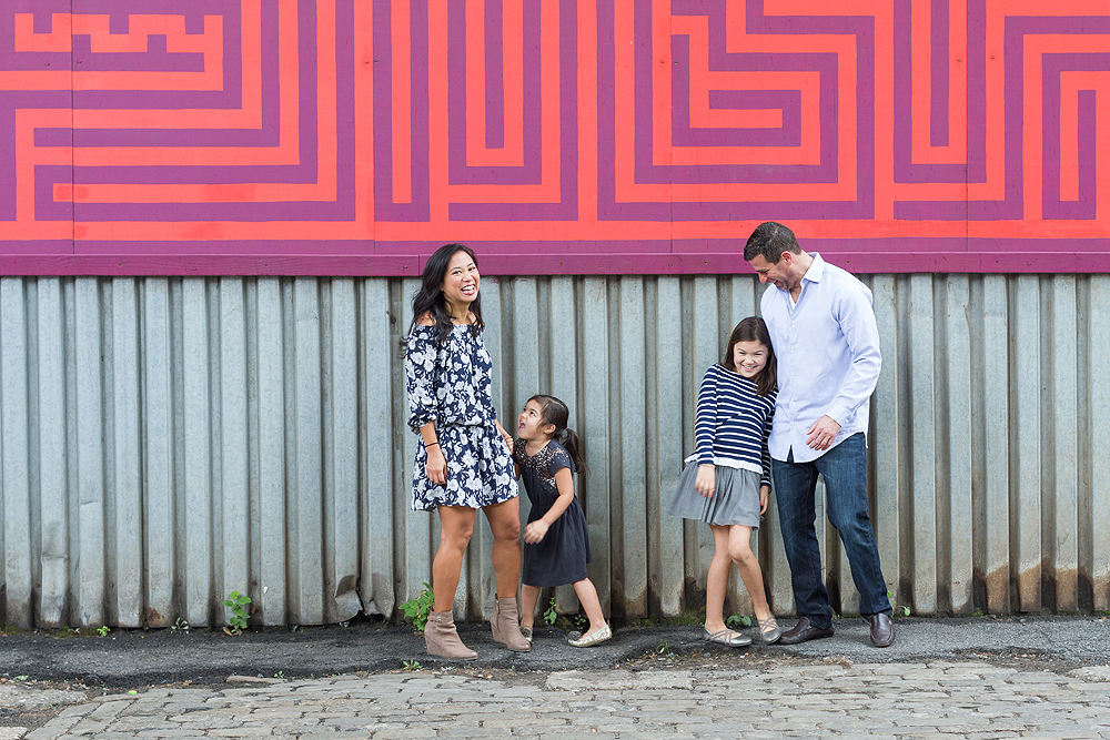 wall mural family portrait - new york city kids photographer - dumbo, brooklyn