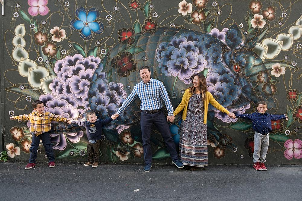 wall mural family portrait - san francisco bay area photographer